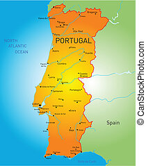 Portugal - Vector color map of Portugal country