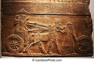 assyrian stone carving - a stone carving