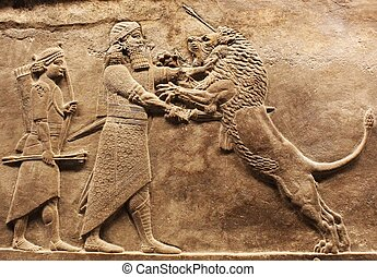assyrian carving - stone detail