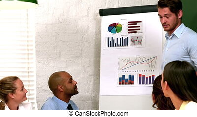 Man presenting data to colleagues - Businessman presenting...