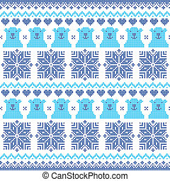 Winter, Christmas navy blue pattern - Nordic folk art vector...