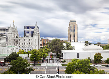 Salt Lake City, Utah, USA - Panorama of Salt Lake City,...