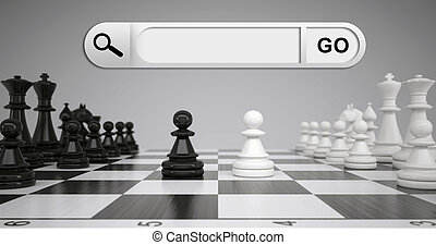 Search bar in browser. Chess pieces and chessboard on...