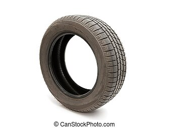 Tyre of a car isolated on white background