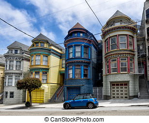 Painted Ladies victorian houses in San Francisco, USA