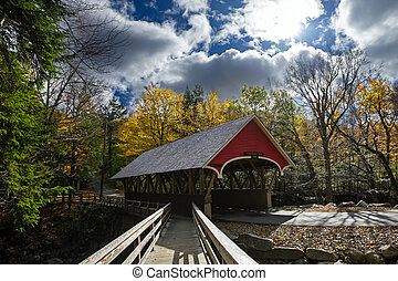covered bridge in franconia notch state park - 19th century...
