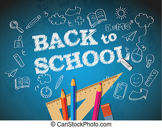 Back to school poster with doodles and pencils
