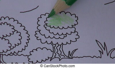 child with pencil coloring tree