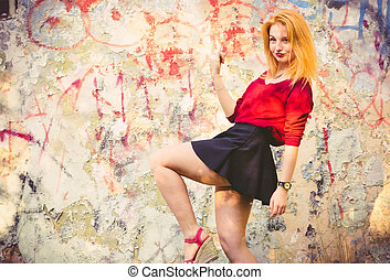 Young Woman model outdoor Urban Street Fashion Lifestyle...