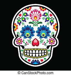 Mexican sugar skull Polish folk art - Dia de los Muertos...