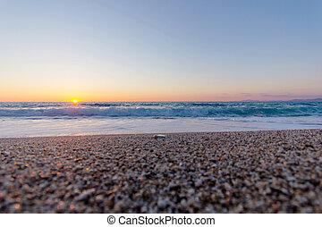 beautiful sunset and beach - beautiful sunset dissapear into...