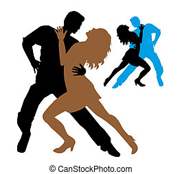 Tango dancers on a white background