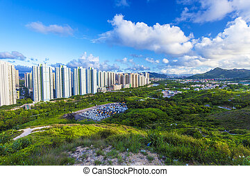 Tin Shui Wai district in Hong Kong at day