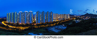 Tin Shui Wai district in Hong Kong at night