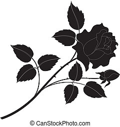 Rose flower silhouettes - Flower rose with leaves black...