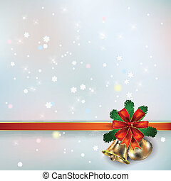 Abstract background with Christmas bells and snowflakes -...