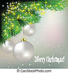 Abstract background with Christmas decorations and pine branch