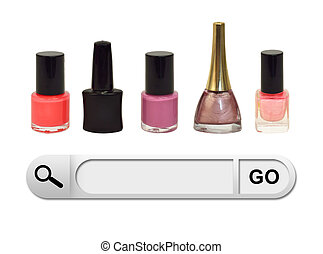 Search bar in browser Colorful bottles nail polish as...