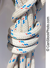 ropes in luxury sail boat - closeup of a ropes in a luxury...