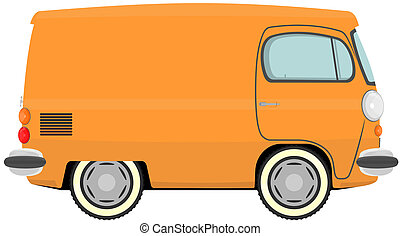 Van - Funny cartoon retro van or small bus Vector