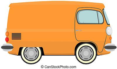 Van - Funny cartoon retro van or small bus. Vector