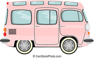 Minivan - Funny cartoon retro van or small bus Vector