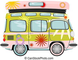 Hippy bus - Funny cartoon retro van or small bus. Vector