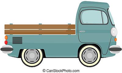 Truck - Funny cartoon retro van or small bus. Vector