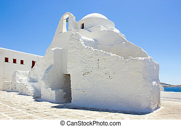 white church in Mykonos,Greece - traditional white church in...