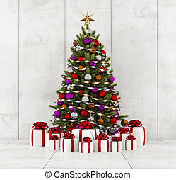 Christmas tree in a concrete room - Colorful christmas tree...