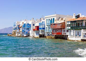 little Venice in Mykonos - little venice in mykonos island,...