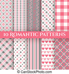 10 Romantic vector seamless patterns. Fond red, pink, grey...