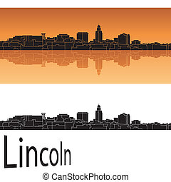 Lincoln skyline in orange background in editable vector file
