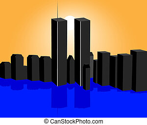 twin towers - Twin Towers and the sunset with reflection