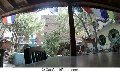 2.7K. Hotel open air cafe. Kathmandu. Nepal, Full HD,...