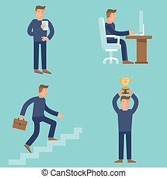 Set of business and career concepts in flat style - cartoon...
