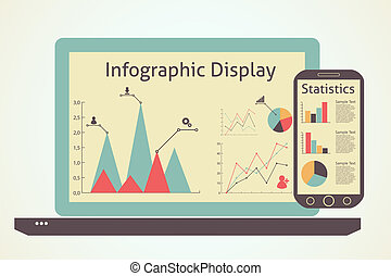 infographics devices, statistics concept