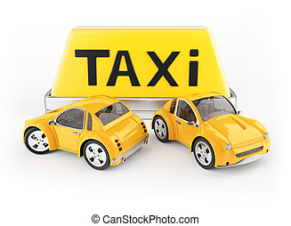 Taxi cabs and roof sign isolated on white background. 3d...