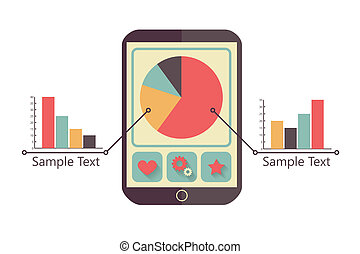 tablet with charts - tablet with business charts, retro...
