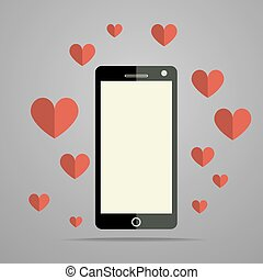 Modern mobile phone with heart