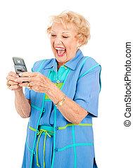 Sênior, mulher, -, ENGRAÇADO, texto, mensagem