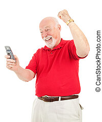 Senior Man - Good News by Text - Senior man excited about...
