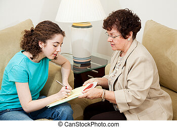 Teen Interview - Sign Here - Woman interviewing teenage girl...