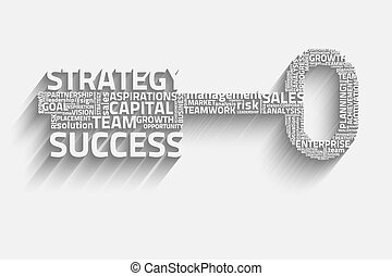 key with business words, growth eps10 vector concept