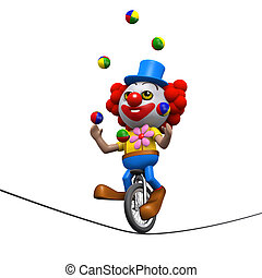 3d Clown juggles on a unicycle on a highwire - 3d render of...