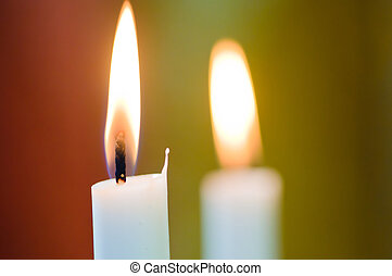 Two wedding candles (macro) - Two wedding candle on table in...
