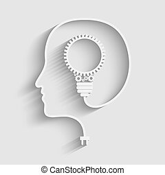 Human head creating a new idea. Creative Idea. vector.