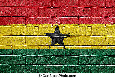 Flag of Ghana on brick wall
