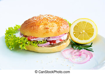Lunchtime Burger - A big juicy burger ready to satiate your...
