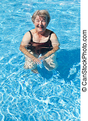 Senior Woman Swimming At The Pool - 80 Plus Years, Sea,...